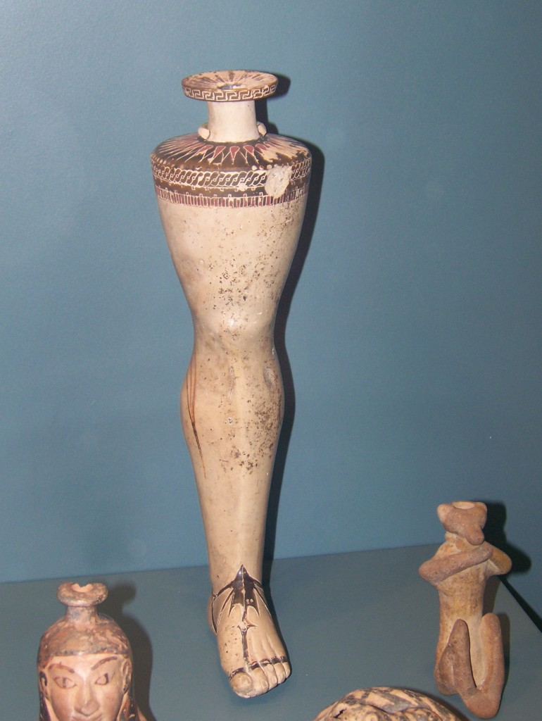 Greek Ceramic Leg Vase, ROM