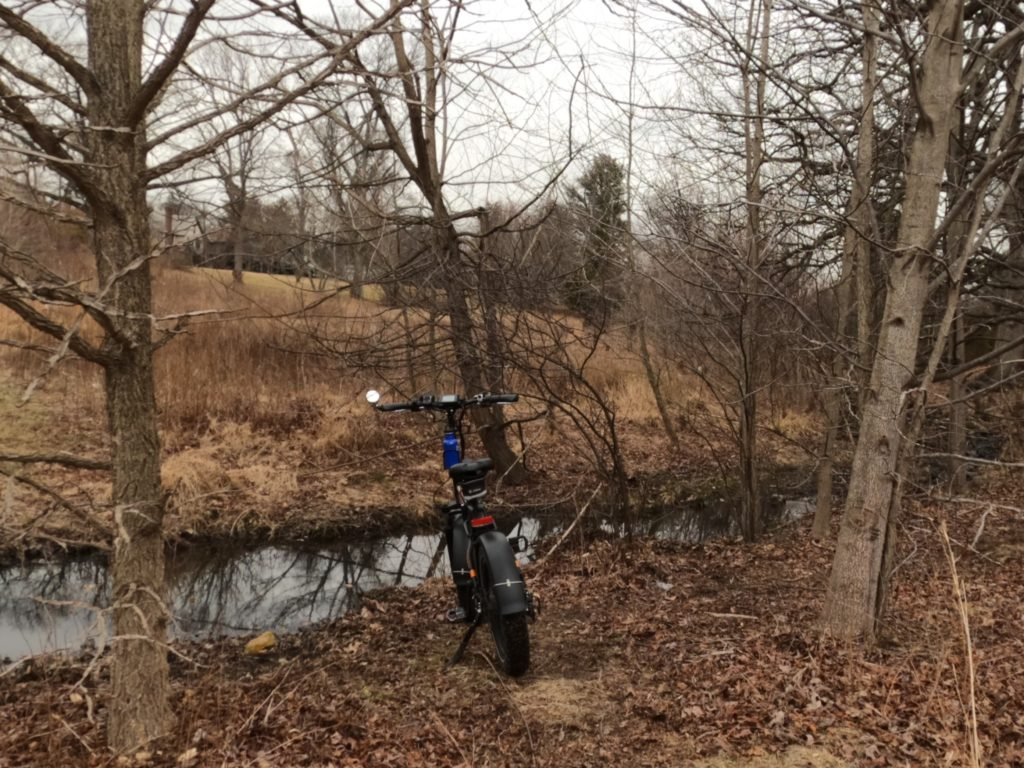 e-bike by a stream