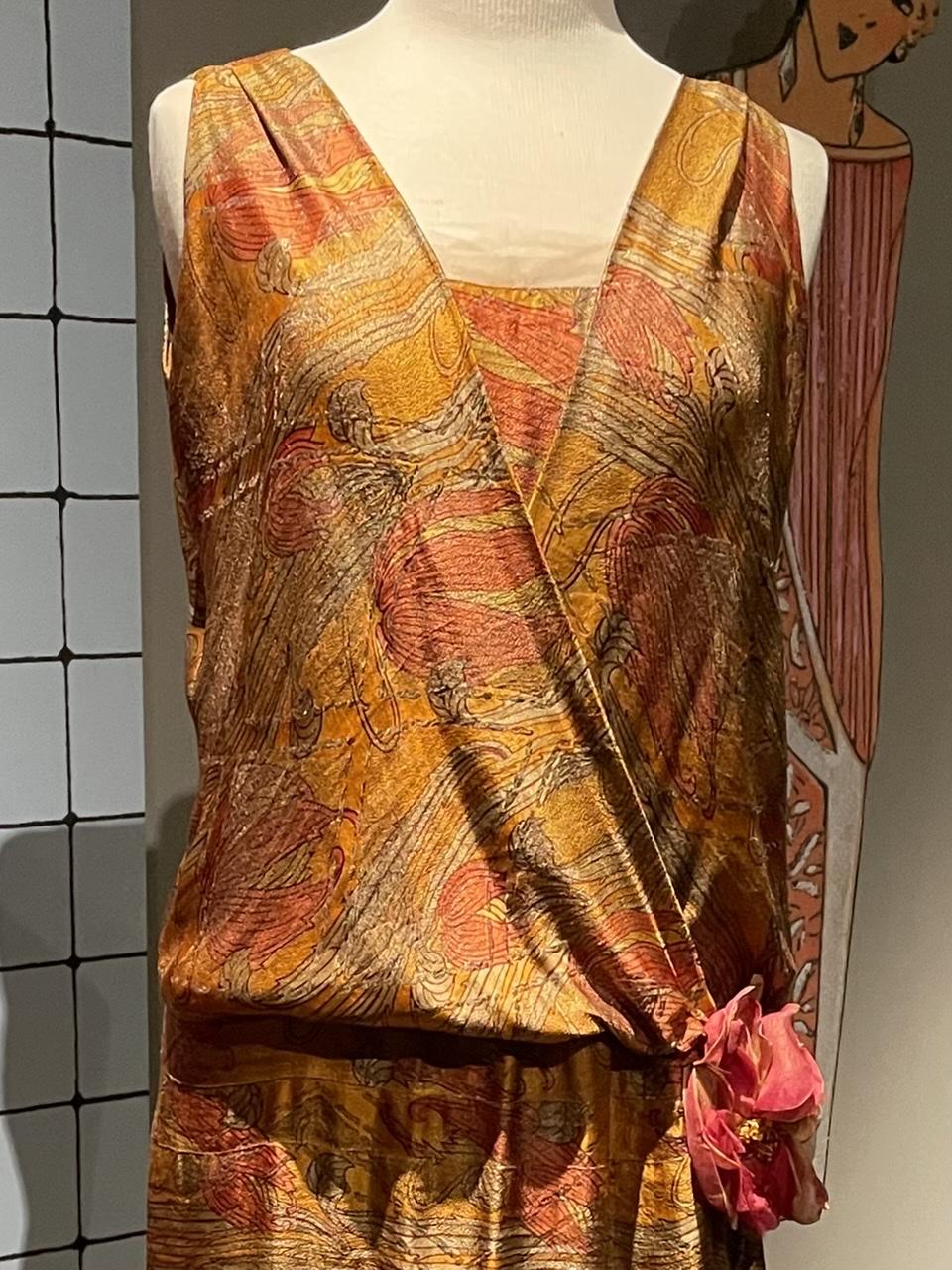 Golden dress with flower